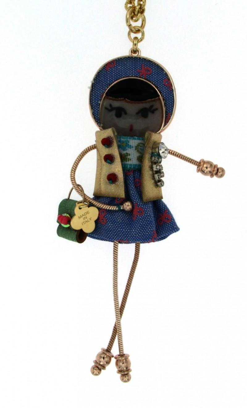 Collana con ciondolo bambolina collana rol dorata - Bagno galvanico ...
