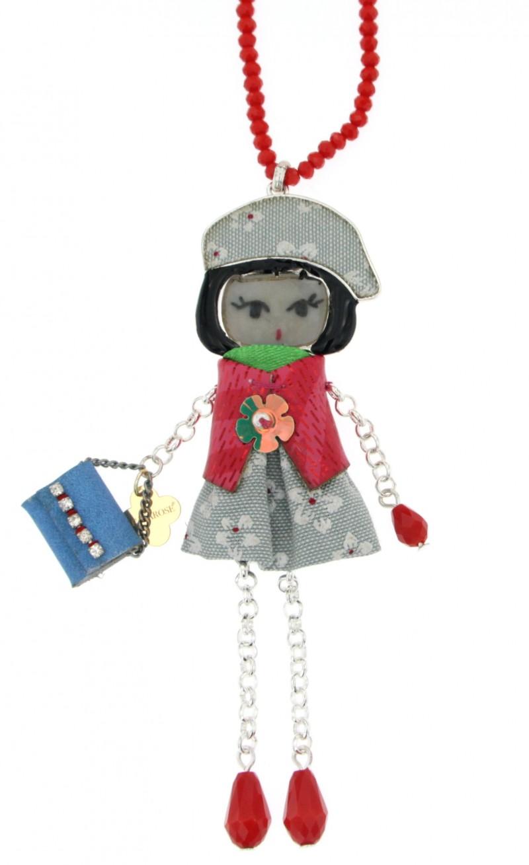 Collana in swarovski rosso e ciondolo bambolina in ottone - Bagno galvanico ...