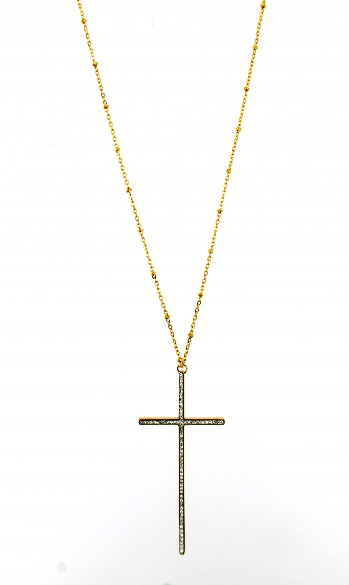 necklace strass cross