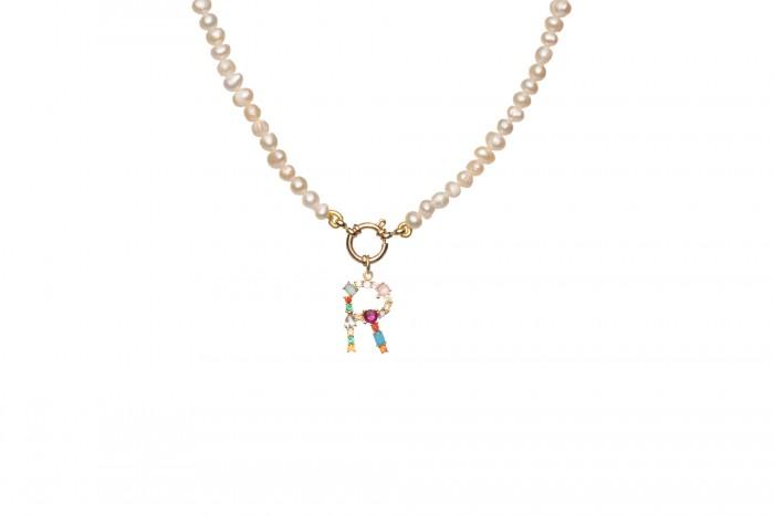 Collana Donna Infinity con Perle e Iniziale