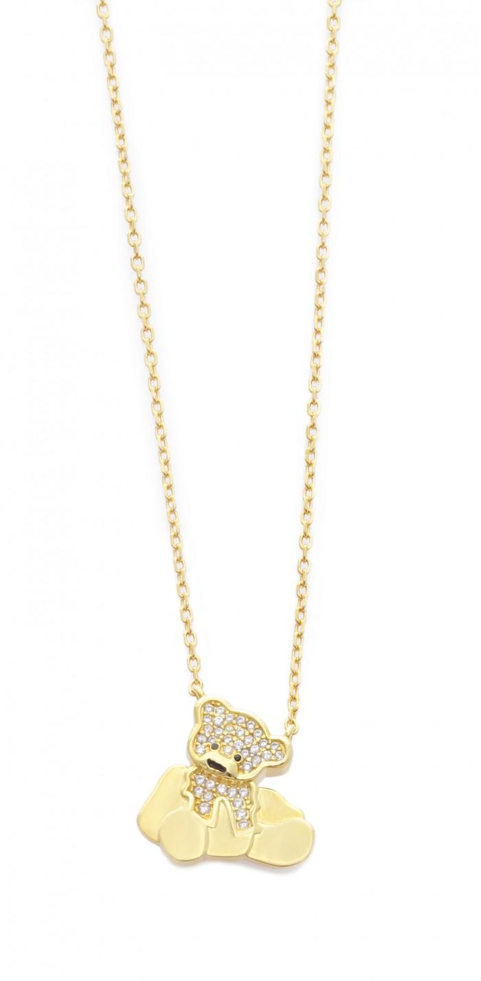 Collana Donna in argento dorato Orsetto
